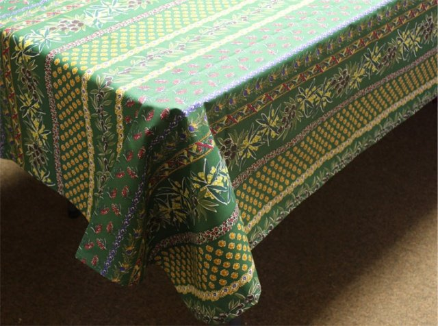 84 French Acrylic-Coated Rectangular Tablecloth Olive (Green)