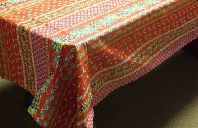 84 French Acrylic-Coated Rectangular Tablecloth Olive (Red)