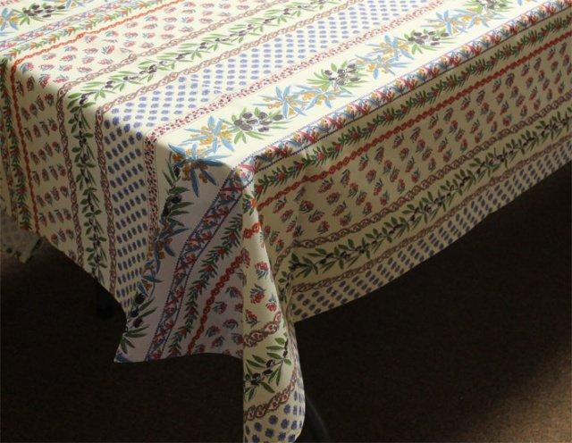 96 French Acrylic-Coated Rectangular Tablecloth Olive (White)