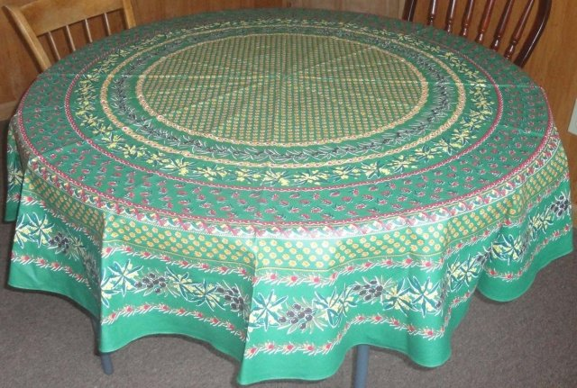70 French Acrylic-Coated Round Tablecloth Olive & Mimosa (Green)