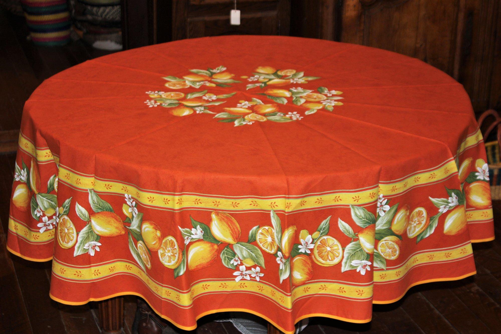 70 French Cotton Round Tablecloth Lemon (Orange)