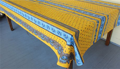 96 French Acrylic-Coated Rectangular Tablecloth Tradition (Yellow)