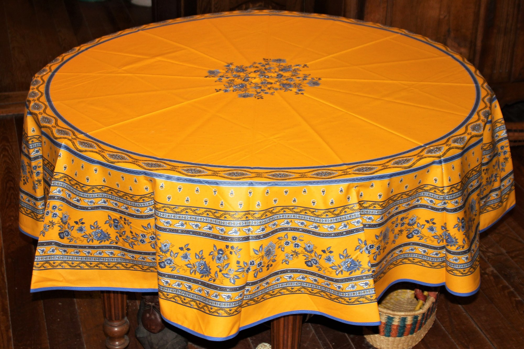 70 French Acrylic-Coated Round Tablecloth Avignon (Yellow)