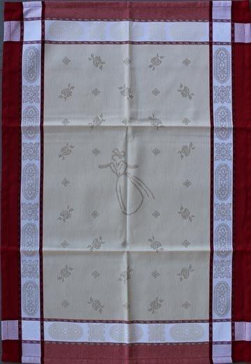 Tissage du Soleil Arlesienne tea towel (red)
