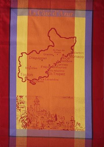 Tissage du Soleil Cote d'Azur tea towel (orange)