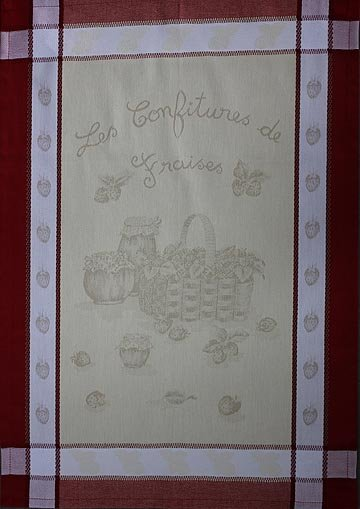 Tissage du Soleil Strawberry Jam tea towel
