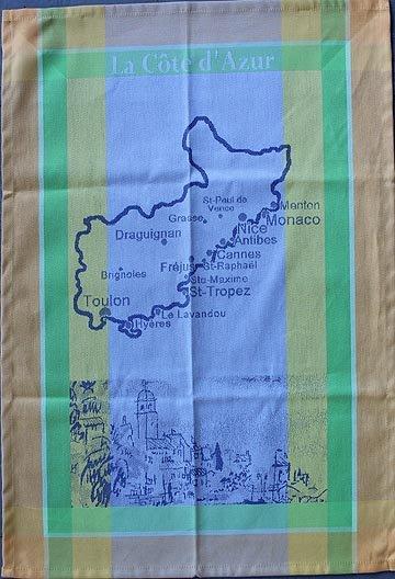 Tissage du Soleil Cote d'Azur tea towel (blue)