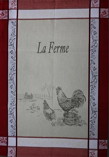 Tissage du Soleil Farm tea towel (red)