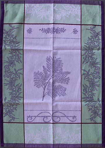 Tissage du Soleil Mimosa tea towel (purple)