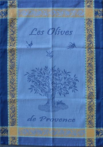 Tissage du Soleil Olive tree tea towel (blue)