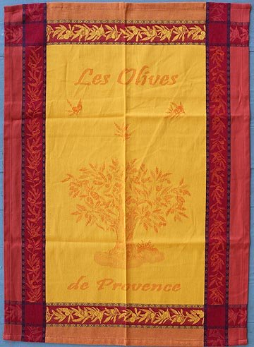 Tissage du Soleil Olive tree tea towel (gold)