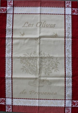 Tissage du Soleil Olive tree tea towel (red)