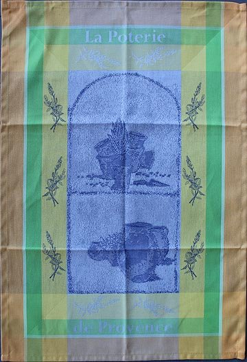 Tissage du Soleil Pottery tea towel (blue)
