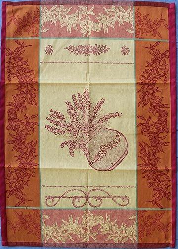 Tissage du Soleil Pots tea towel (red)