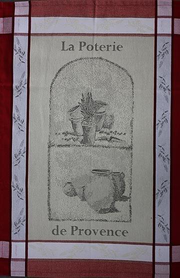 Tissage du Soleil Pottery tea towel (red)