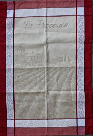 Tissage du Soleil Provence tea towel (red)