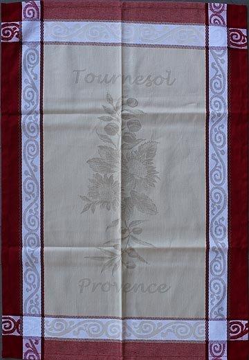 Tissage du Soleil Sunflower tea towel (red)