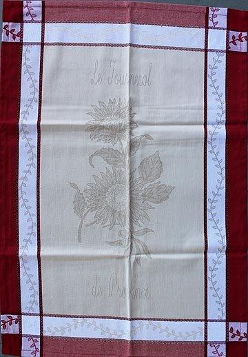 Tissage du Soleil Sunflower #2 tea towel (red)
