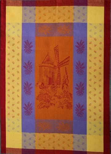 Tissage du Soleil Windmill tea towel (orange)