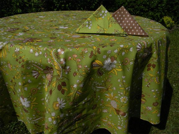 70 French Acrylic-Coated Round Tablecloth Versailles (Green)
