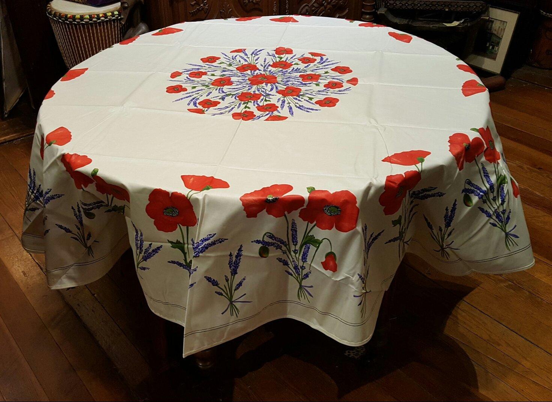 70 French Cotton Round Tablecloth Poppy (White)
