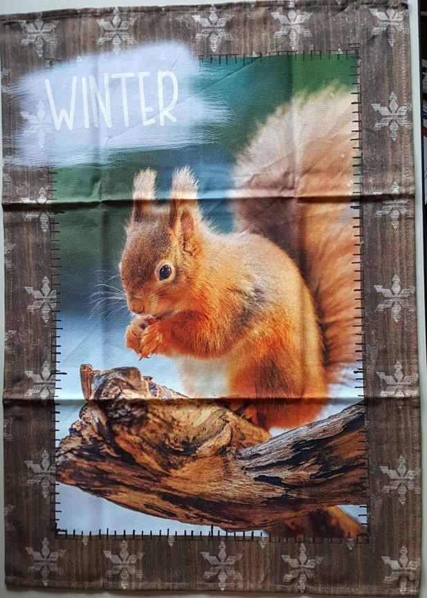 STOF Snowy Squirrel Tea Towel