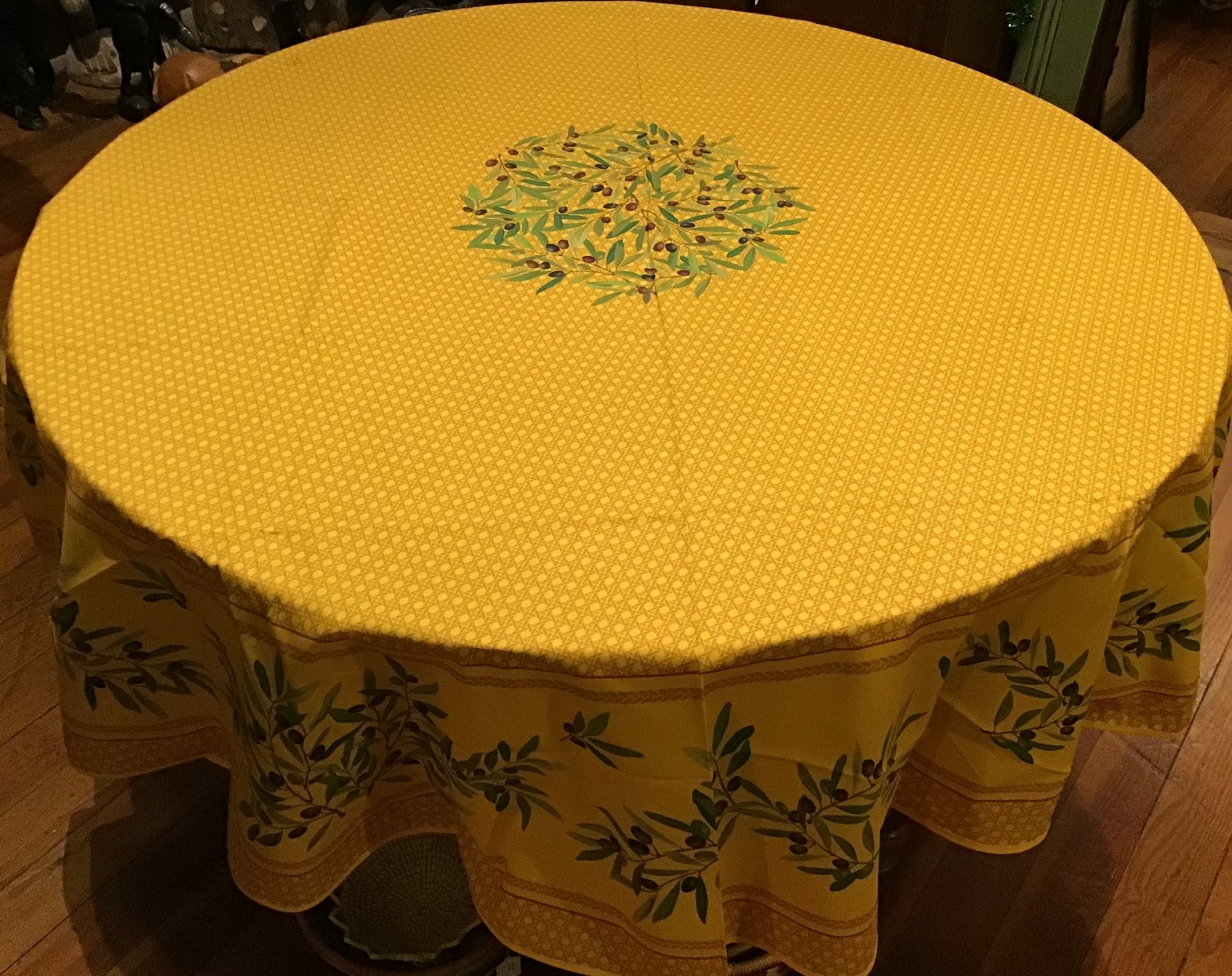 70 French Acrylic-Coated Round Tablecloth Yellow Basket Weave