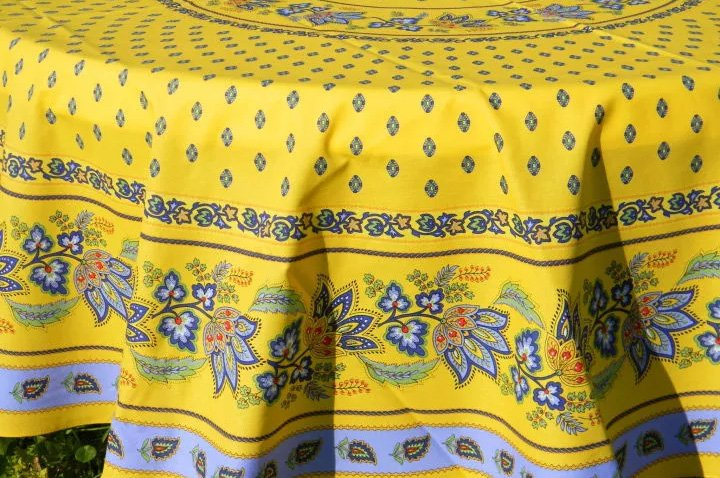 70 French Acrylic-Coated Round Tablecloth Lisa (Blue & Yellow)