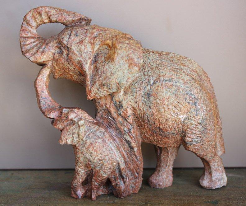 Shona Art Carved Elephant Mother and Baby - Zimbabwe