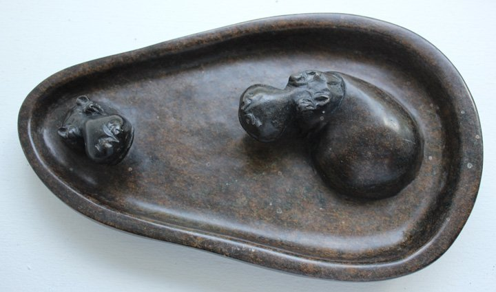 Shona Art Carved Bathing Hippopotamuses - Zimbabwe