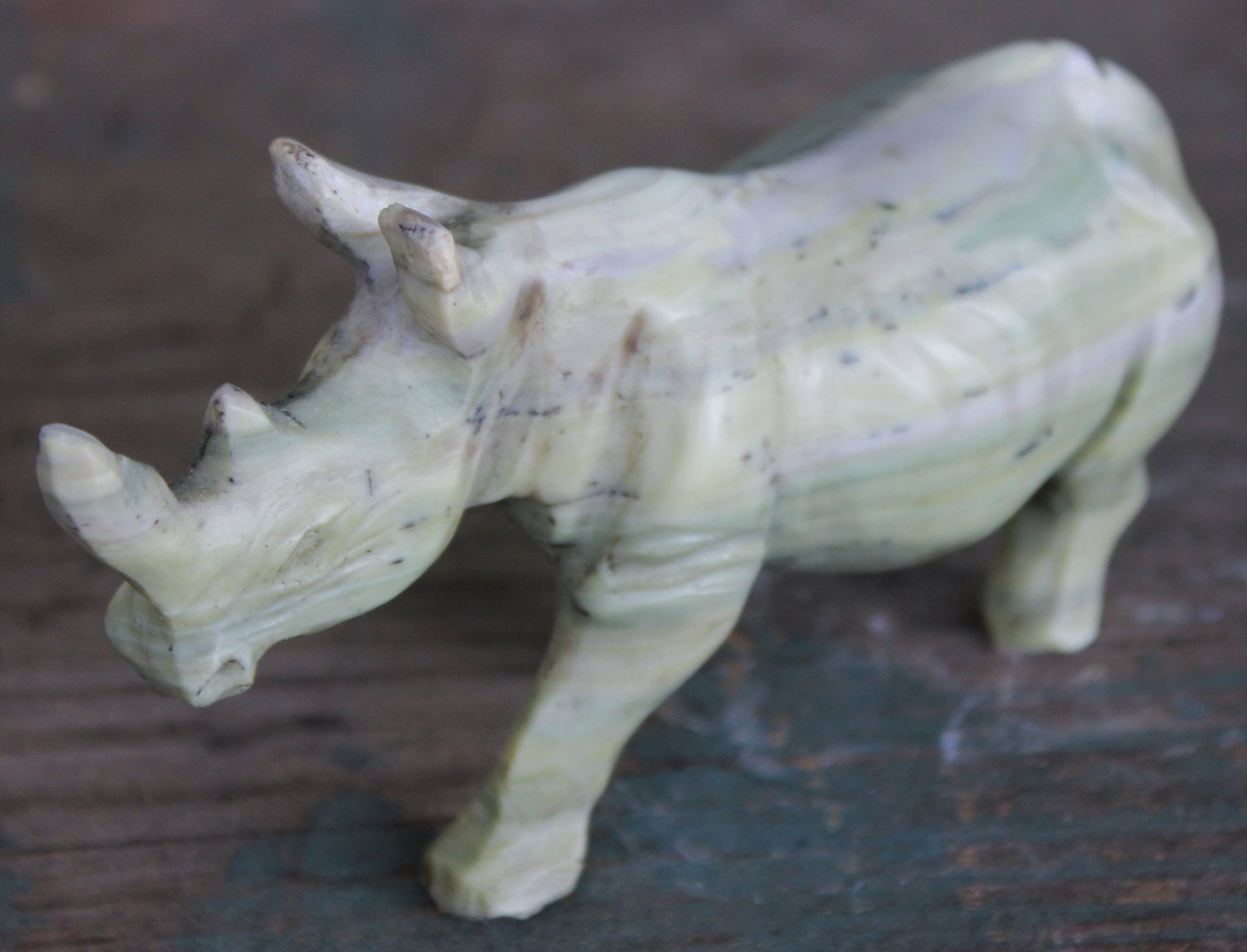 Shona Art Carved Butter Jade Rhinoceros - Zimbabwe