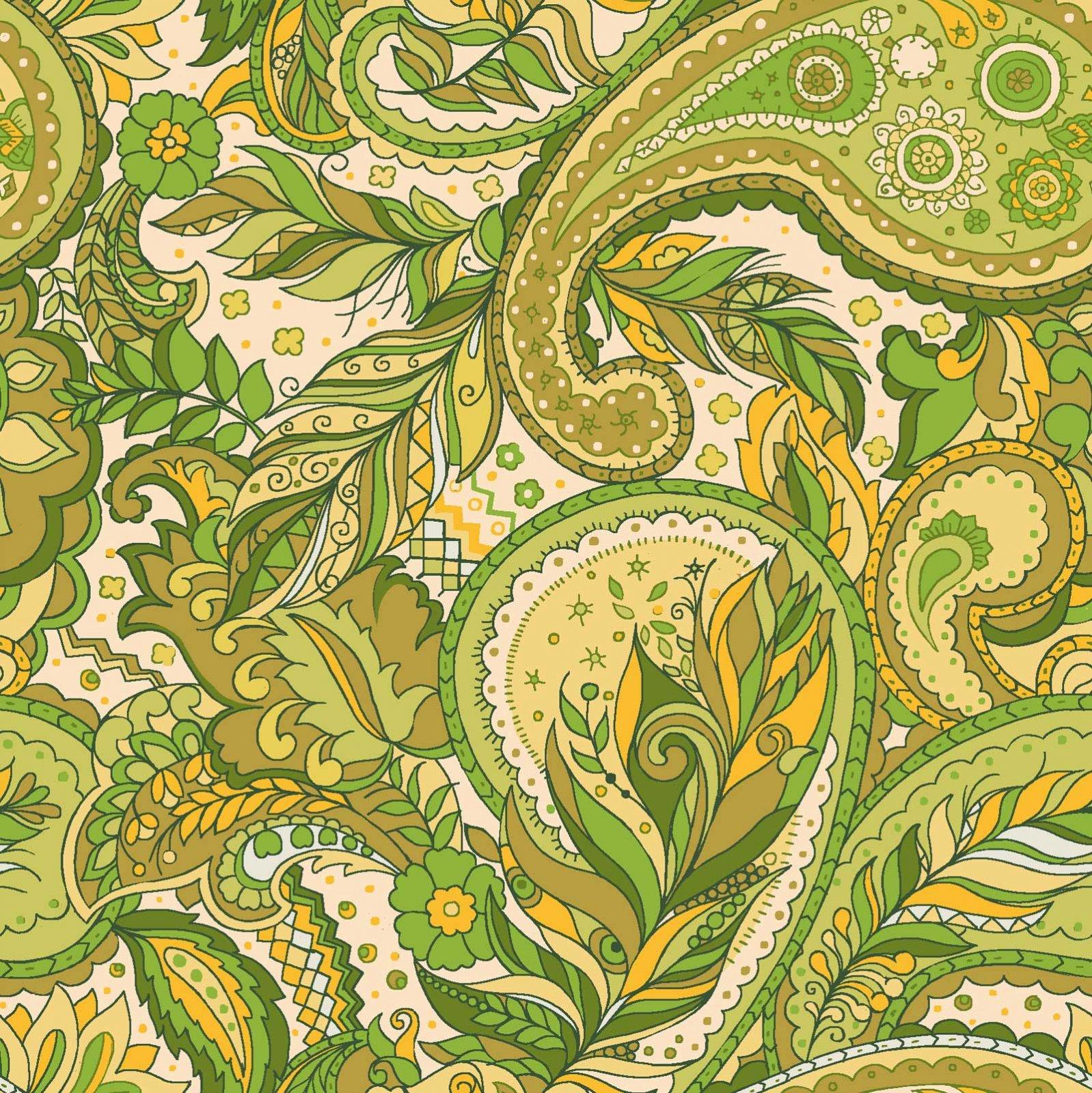 16602 BoHo Chic, Green Paisley'