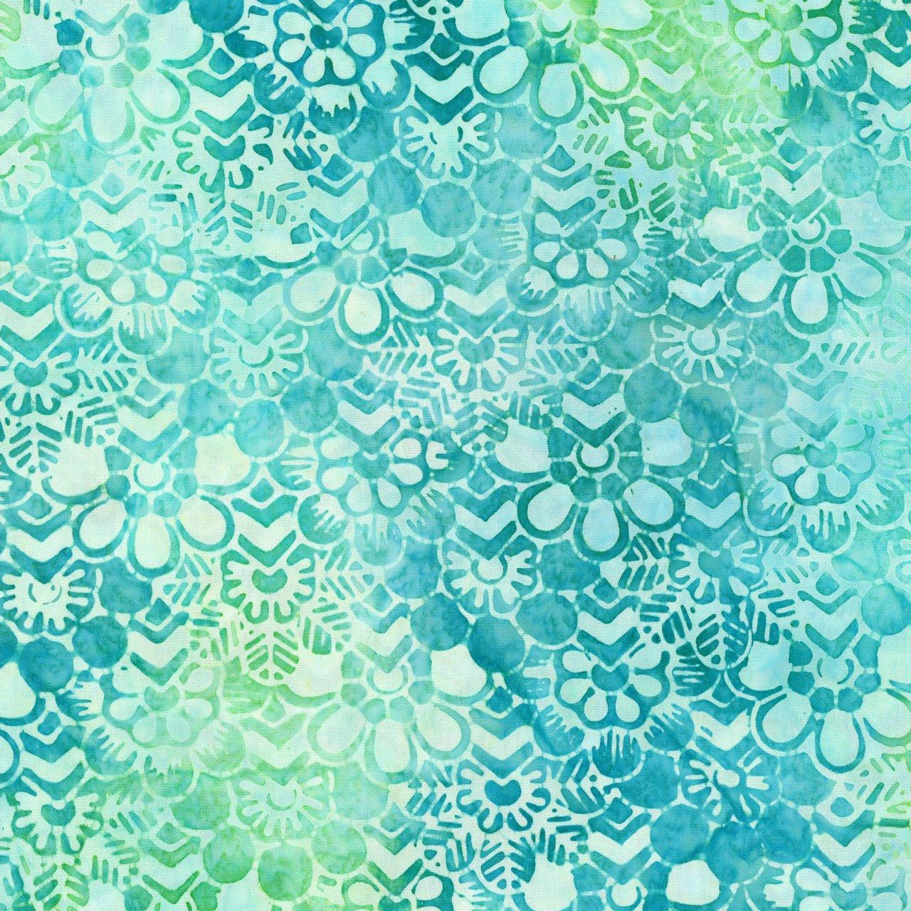 202Q Batik, Wall Paper Floral Teal