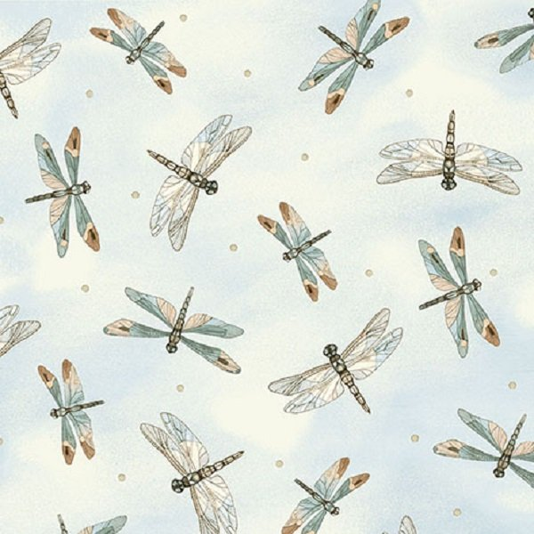 Quilting Treasures Tranquility Dragonfly on Lt. Blue   #26392-BE