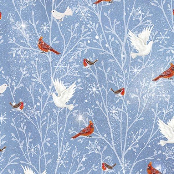 QT Fabrics Woodland Dream Cardinal & Doves  #26477-B