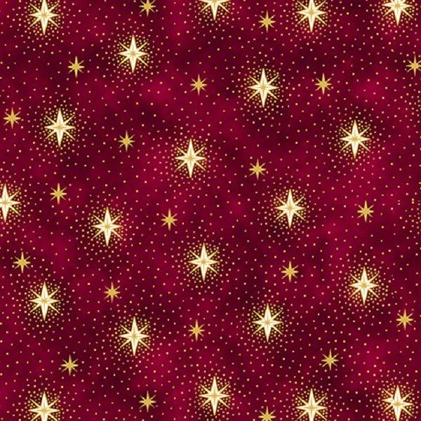 QT Fabrics Miracle in Bethlehem Red Sparkling Stars #26572-R