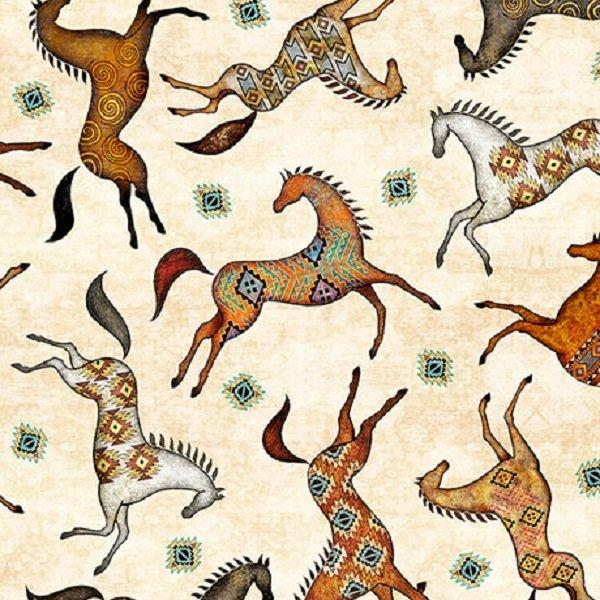 QT Fabrics Southwest Soul Painted Horses #26639-E  1/2 Yard Left!