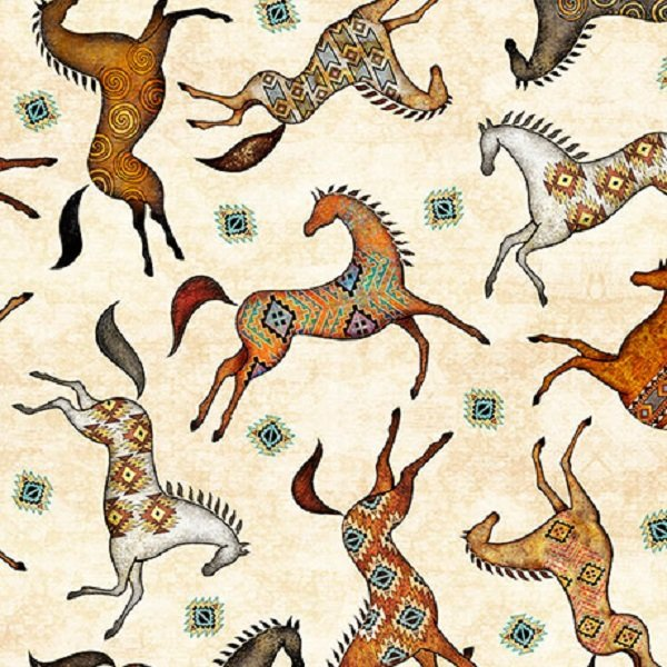 QT Fabrics Southwest Soul Painted Horses #26639-E