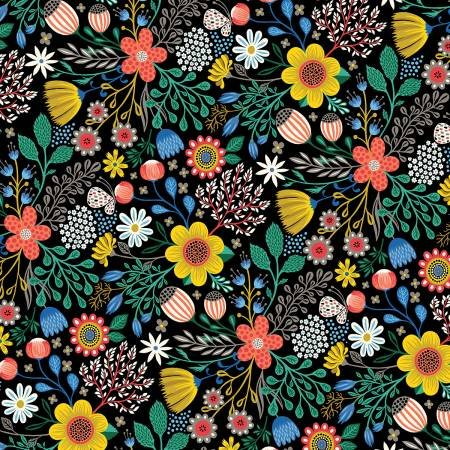 Clothworks Bright Black Floral - Good Things Will Come #Y2526-37