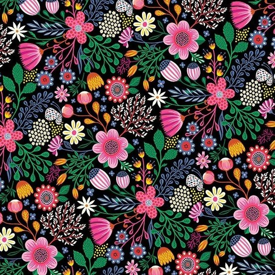 Clothworks Bright Black/Pink Floral - Good Things Will Come #Y2526-74
