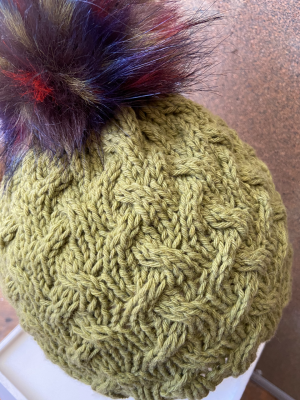 Cabled Cashmere Hat and Faux Raccoon Pom Pom