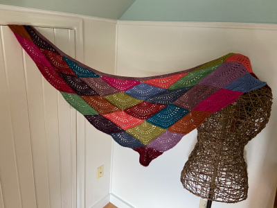Silk Fan Shawl in Alpaca Silk