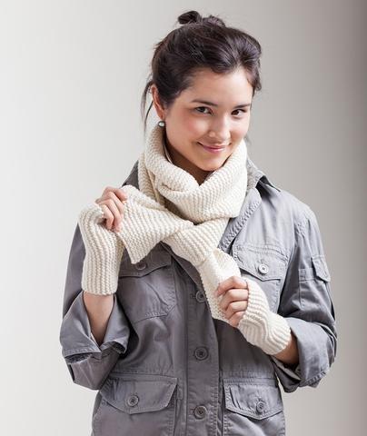 churchmouse classroom: garter-stitch scarf & sideways handwarmers