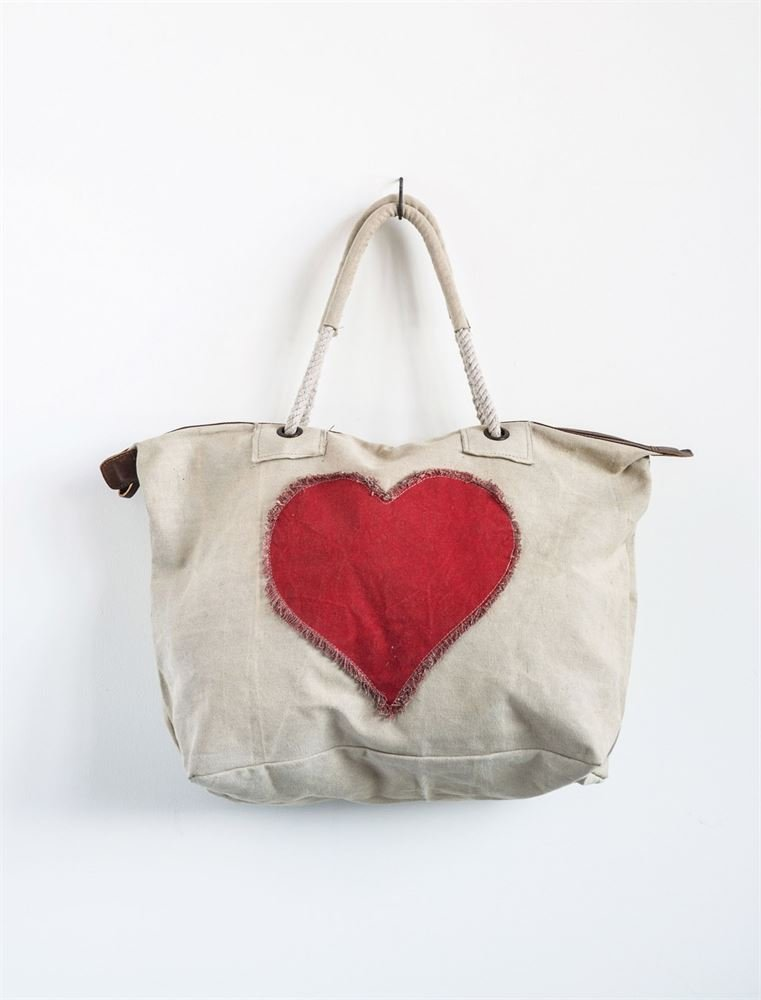 canvas heart bag