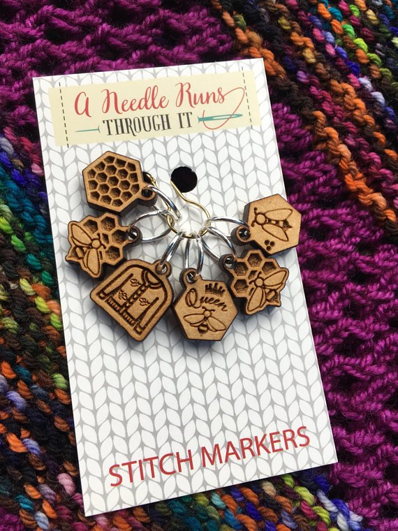 a needle runs through it beekeeper stitch markers