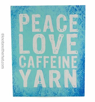peace love caffeine yarn wall hanging