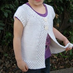 knitting pure & simple #106 girls cap sleeve vest