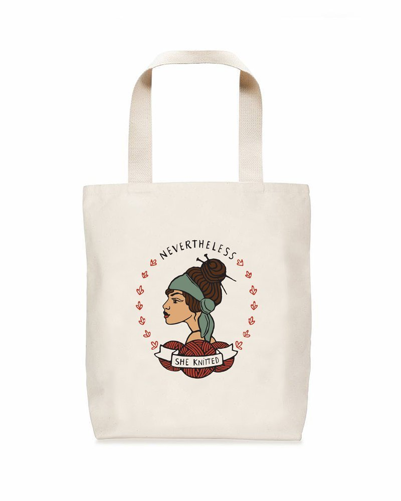 nerd bird nevertheless she knitted tote
