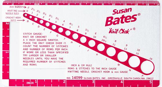 susan bates knit check gauge