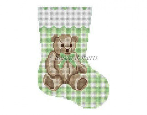SR/5423 GREEN GINGHAM TEDDY MINI SOCK 13M